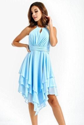 By Saygı Kadın Bebe Mavi Eteği Katlı Volanlı Şifon Abiye Elbise