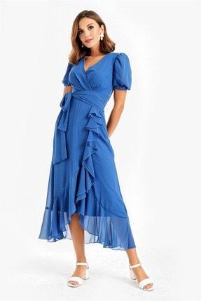 By Saygı Kadın  Mavi  Balon Kol Volanlı Şifon Abiye Elbise