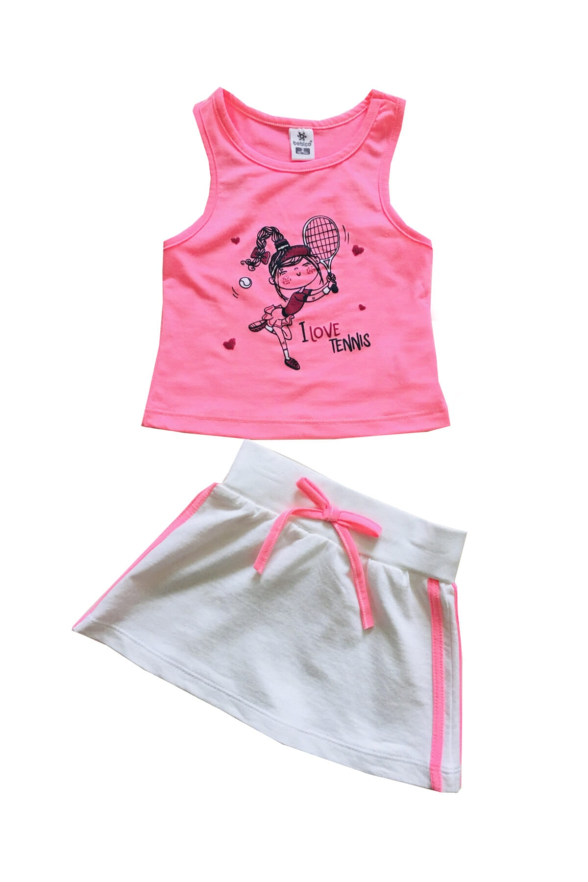 BEBİÇO KİDS Kız Çocuk Pembe Love Tennis Takım 1