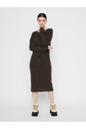 PIECES Kadın Siyah Pieces Midi Boy Uzun Kol Triko Elbise 17107262
