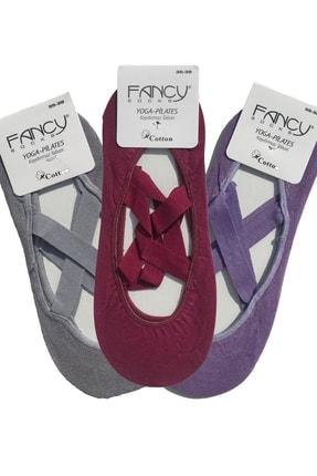 Fancy Kadın Bordo Gri Mor Kaydırmaz Bayan Dans Pilates ve Yoga Çorabı 3'lü Paket