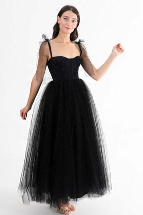 Lenta Moda Kadın Siyah Midi Boy Tül Abiye Balo Elbisesi