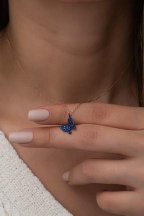 Nereze 925 Ayar Minik Mavi Kelebek Kolye Kadın Gümüş Kolye