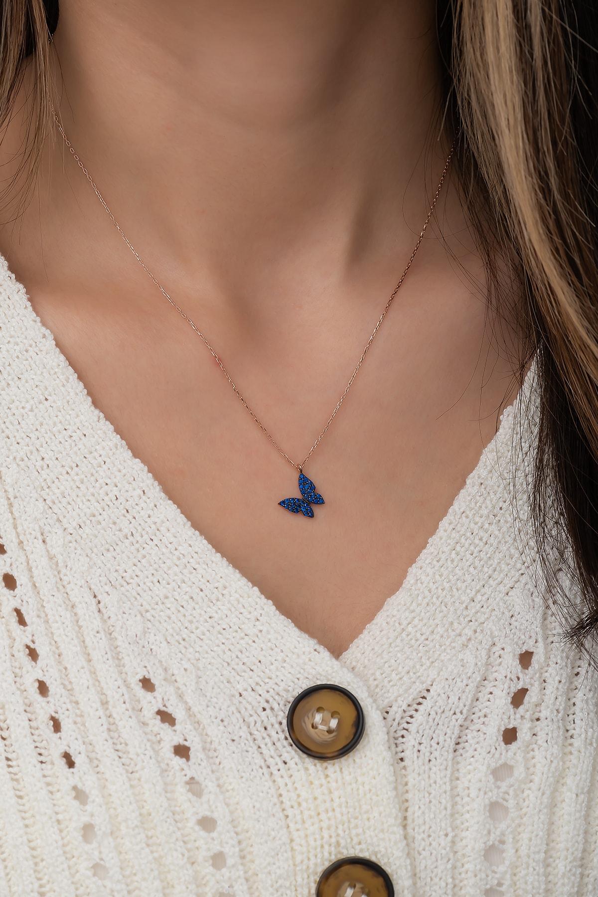 Nereze 925 Ayar Minik Mavi Kelebek Kolye Kadın Gümüş Kolye 2