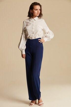 Nihan Kadın Lacivert Bol Paça Pantolon