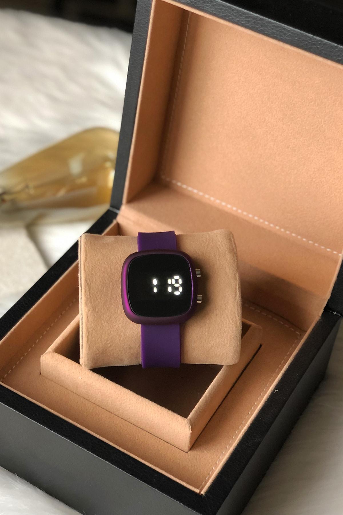 Ricardo Saat Kadın Mor Renk Silikon Kordon Dijital Kol Saati 1
