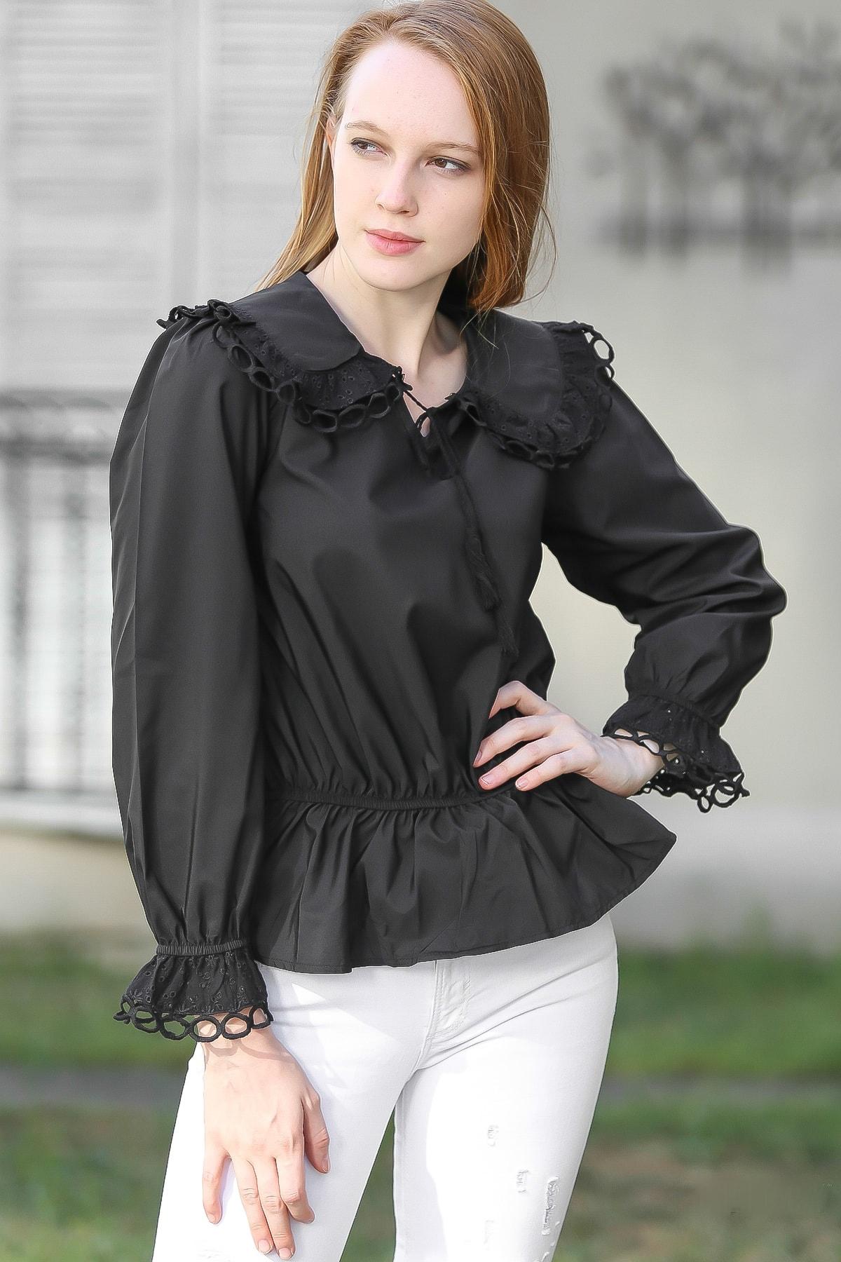 Chiccy Kadın Siyah Retro dev yaka dantel fisto detaylı bel kolları büzgülü volanlı bluz M10010200BL96067