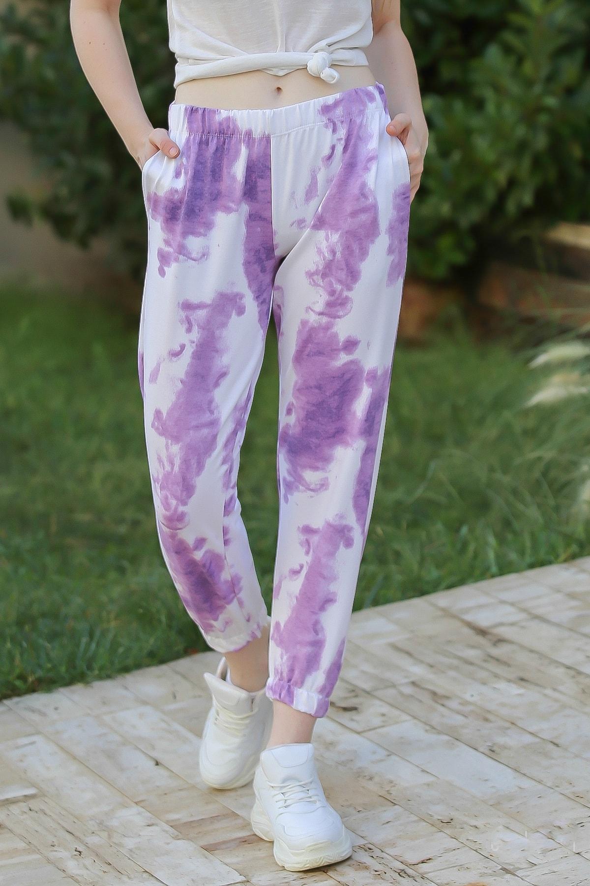 Chiccy Casual Batik Desenli Cep Detaylı Paçası Lastikli Eşofman Altı