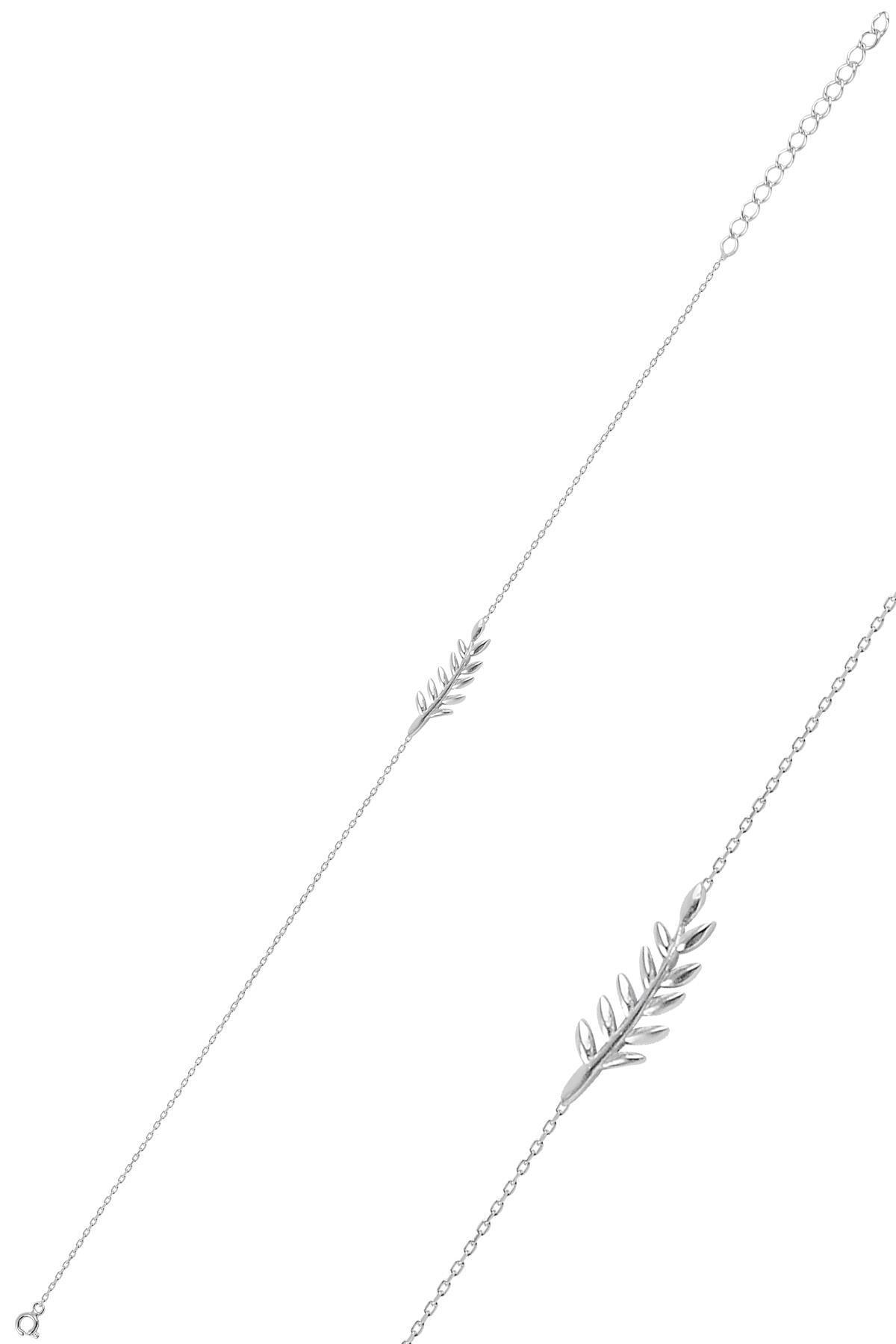 Söğütlü Silver Gümüş Rodyumlu Yaprak Bileklik