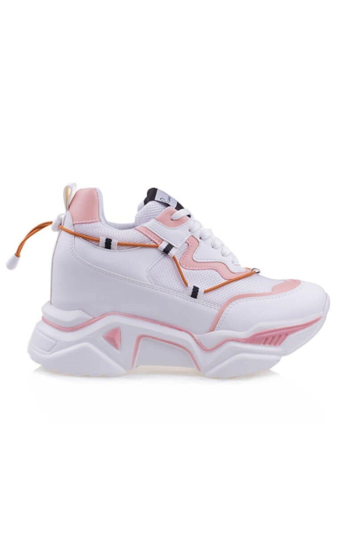 Pierre Cardin Gizli Topuklu 10cm Kadın Beyaz Pudra Ayakkabı 1