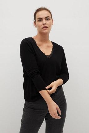Violeta by MANGO Kadın Siyah Dantel Detaylı Kazak 77015915