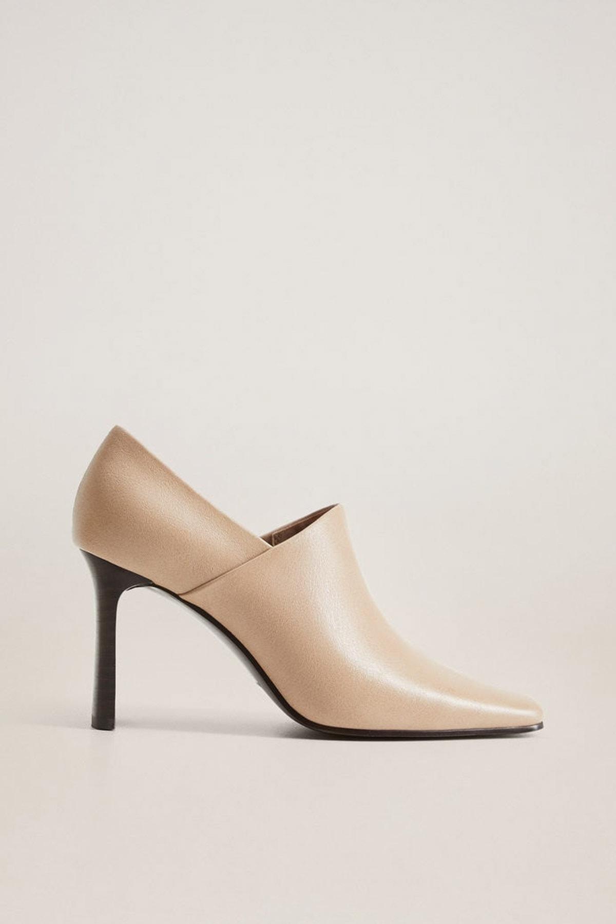 MANGO Woman Kadın Bej Ucu Sivri Topuklu Sandalet 77046308 1