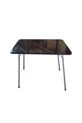 Navis Home Katlanır Masa Balkon Bahçe Kamp Masası Piknik Masası 60*80 -siyah Mermer