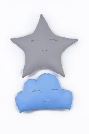 Odeon Gri Yıldız Ve Mavi Bulut Figürlü Çocuk Odası Dekoratif Yastık