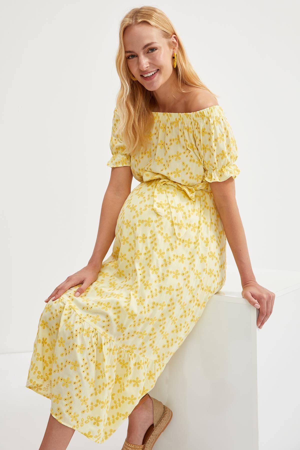 DeFacto Kadın Yellow Hamile Büzgülü Yaka Kuşaklı Midi Elbise S9273AZ20HS