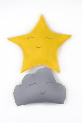 Odeon Sarı Yıldız Ve Gri Bulut Figürlü Çocuk Odası Dekoratif Yastık