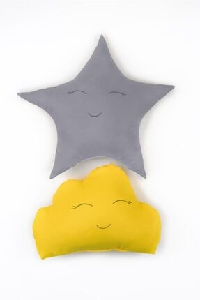 Odeon Gri Yıldız Ve Sarı Bulut Figürlü Çocuk Odası Dekoratif Yastık