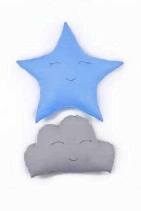 Odeon Mavi Yıldız Ve Gri Bulut Figürlü Çocuk Odası Dekoratif Yastık