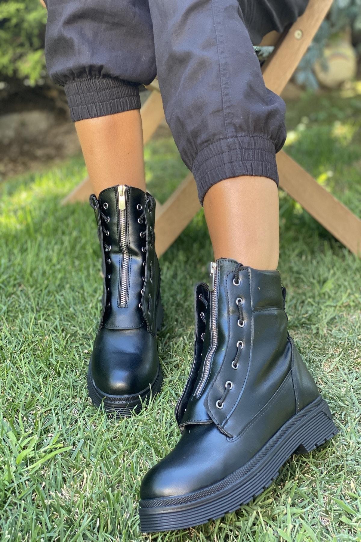 İnan Ayakkabı Bayan Ortadan Fermuarlı Kenardan Bağcıklı Bot 1