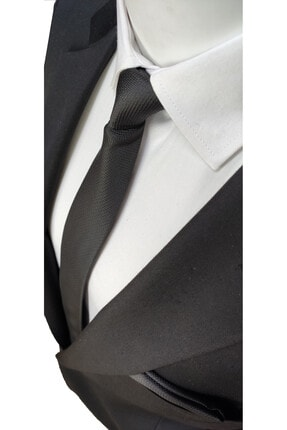Elegante Cravatte Siyah Renk Armürlü Dokuma Kravat Ve Mendil