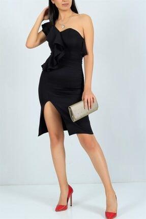 bayansepeti Esnek Kumaş Tek Omuz Fırfır Ve Yırtmaç Detaylı Siyah Abiye Elbise Siyah Mezuniyet Elbisesi