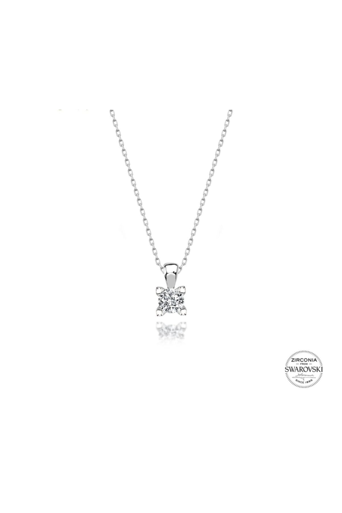 Kara Jewelry Gümüş Kolye Orijinal Swarovskı Taşlı Tektaş Bayan Kolye 2