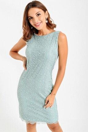 By Saygı Kadın Mint Yeşili Yuvarlak Yaka Dantelli Abiye Elbise