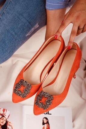 LDÇ Kadın Turuncu Taşlı Topuklu Ayakkabı