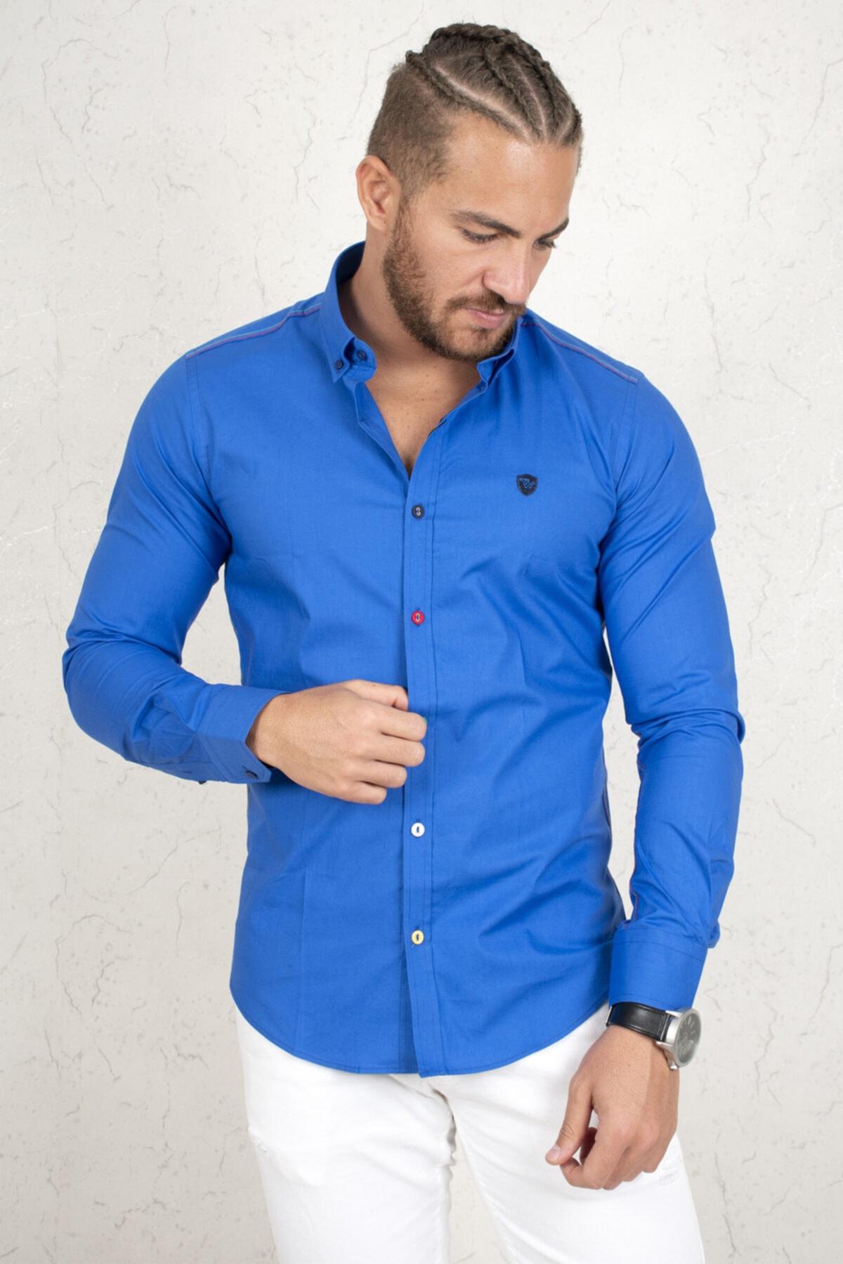 DeepSEA Erkek Mavi Regular Fit Gömlek 2003111 1