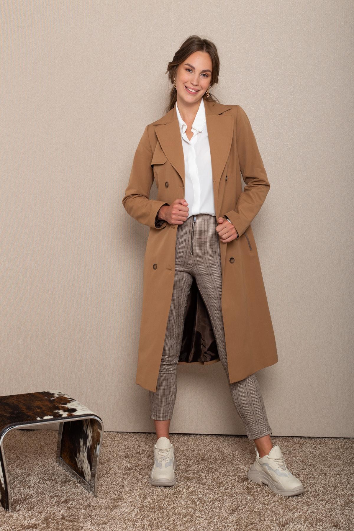 Concept. Kadın Kahverengi Kruvaze Pelerinli Trençkot 1