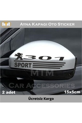 Adel Peugeot 301 Ayna Kapağı Oto Sticker (2 Adet)