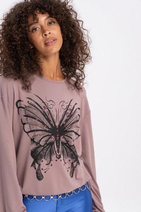 FLAMENCO Kadın Vizon Renk Kelebek Baskılı Bluz