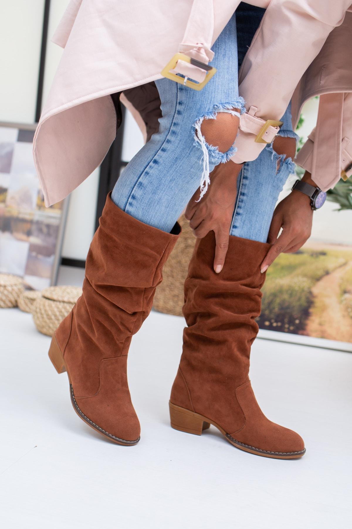 Moda Değirmeni Kadın Taba Süet Çizme Md1016-117-0001 1