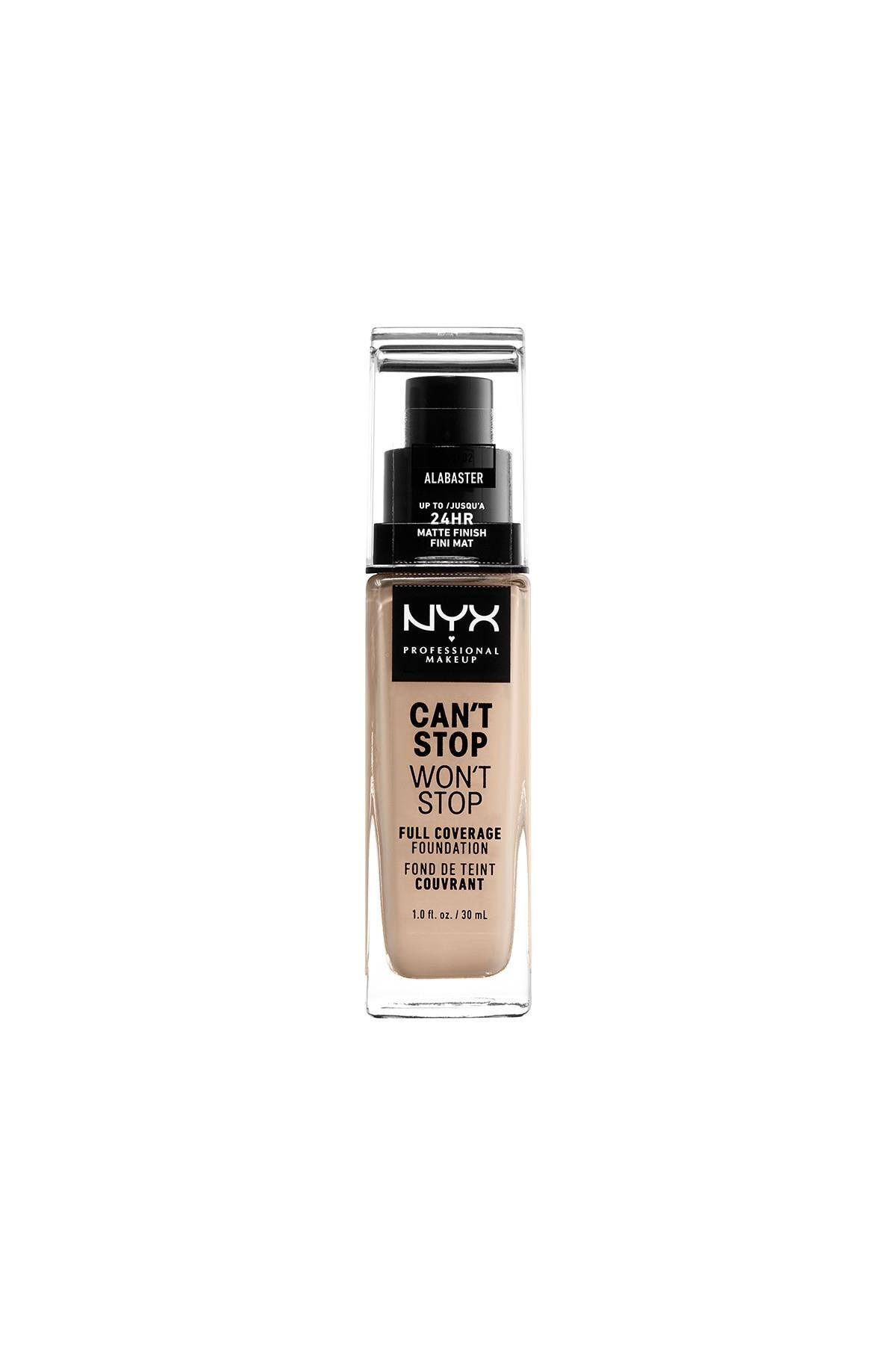 NYX Professional Makeup Fondöten - Can't Stop Won't Stop Full Coverage Foundation 02 Alabaster 30 ml 800897181086