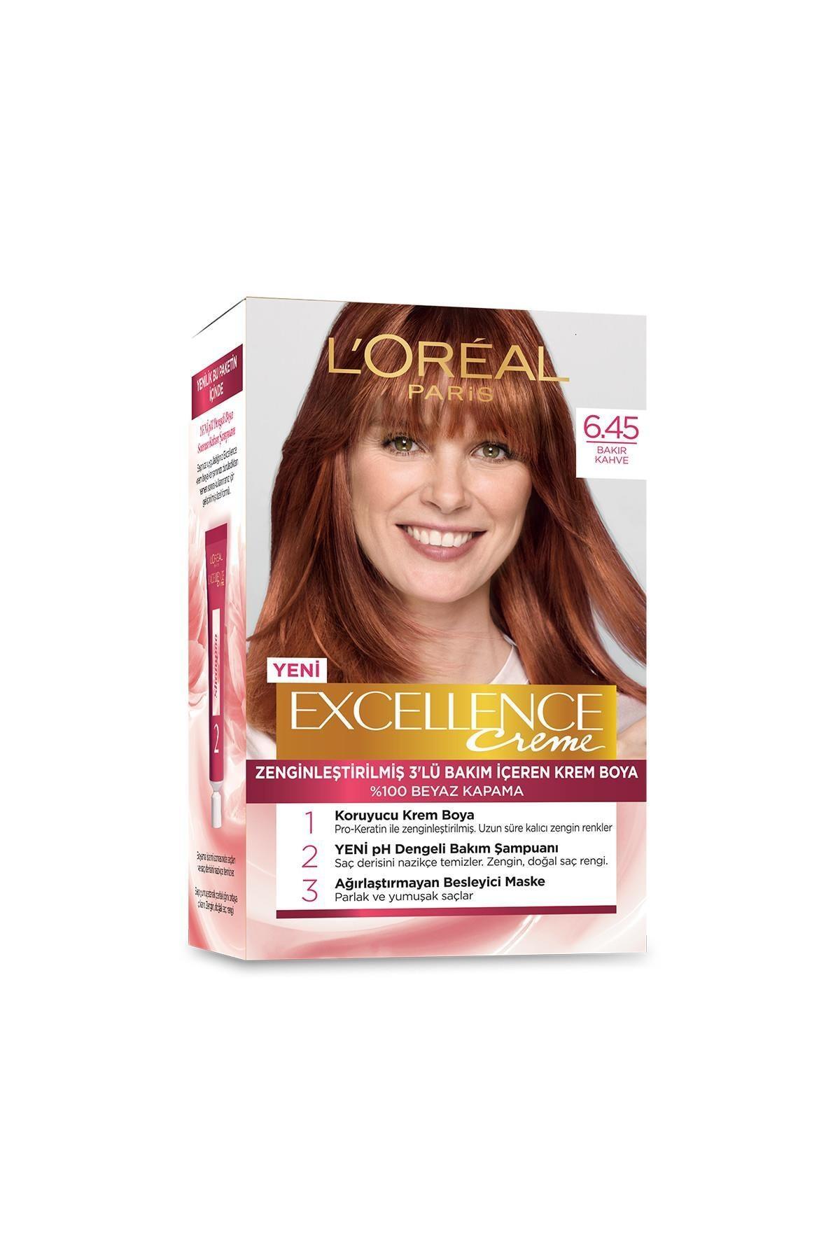 L'Oreal Paris Excellence Creme Saç Boyası 6.45 Sıcak Bakır Kahve