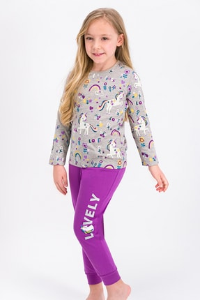 ROLY POLY Bej melanj Lovely Peace Unicorn Kız Çocuk Pijama Takımı