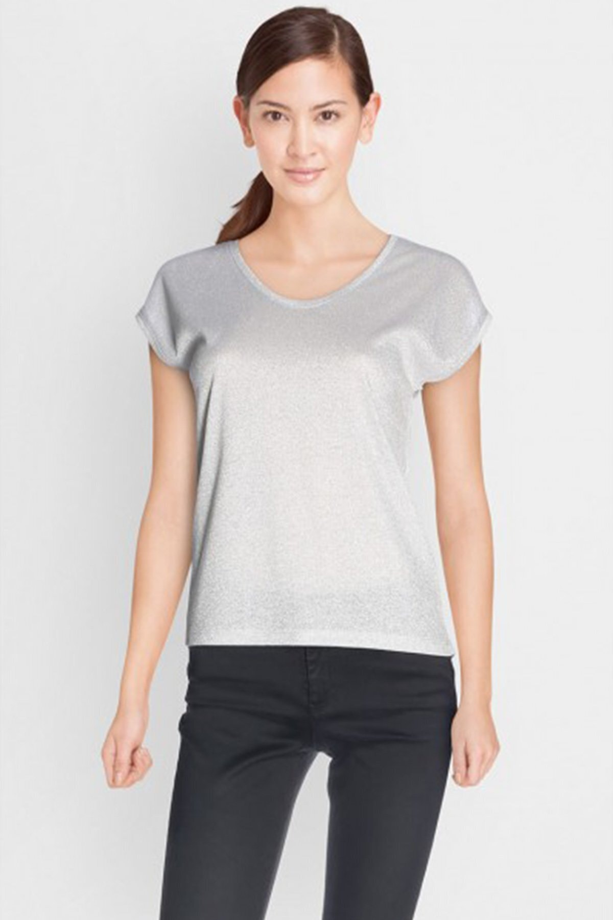 Only Kadın Gri Kısa Kollu V Yaka T-Shirt 15136069 ONLSILVERY 1