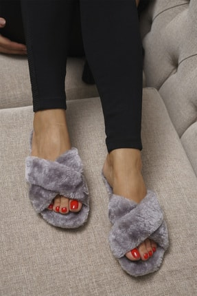 OCT Shoes Gri Çapraz Peluş Ev Terliği 1026