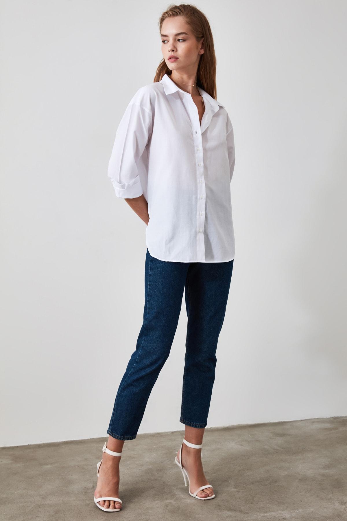 TRENDYOLMİLLA Beyaz Loose Fit Gömlek TWOAW20GO0107 2