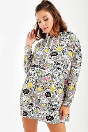 By Saygı Kadın Beyaz Kapüşonlu Grafik Desenli Oversize Sweat Elbise S-20Y2060083