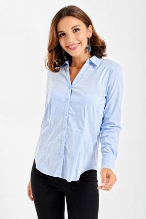 By Saygı Kadın Bebe Mavi Uzun Kollu Slim Fit Likra Gömlek S-20Y3360013
