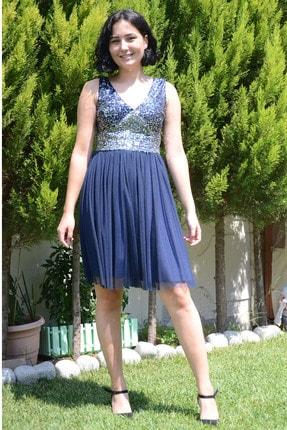 zeynep Kadın Lacivert Pullu Kısa Elbise