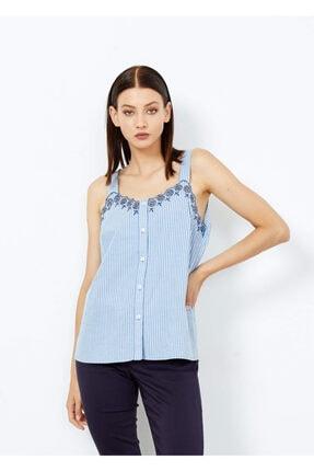 Adze Kadın Mavi Çizgili Askılı Bluz