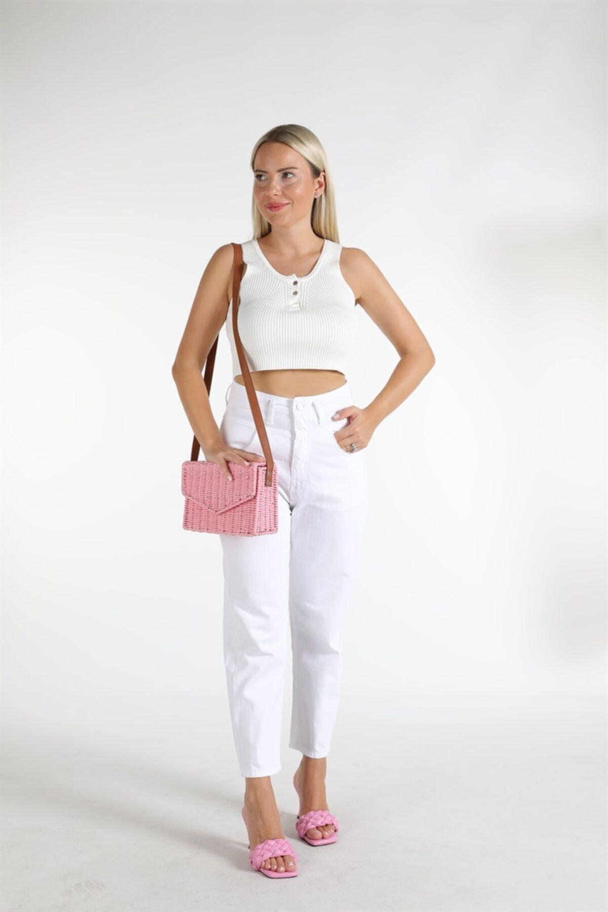 Oblavion Kadın Beyaz Yüksek Bel Detaylı Pantolon 1