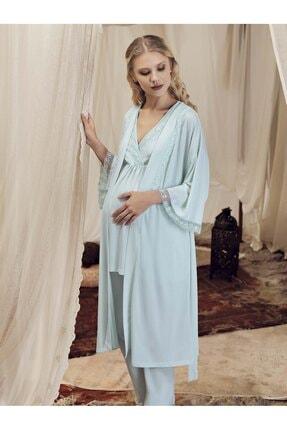 Artış Mint Lezli Viskon 3lü Sabahlık Pijama Takım 8300-1