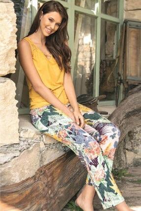Anıl Kadın Hardal Floıral Desenli Kolsuz Tişörtlü Pijama Takımı 9646