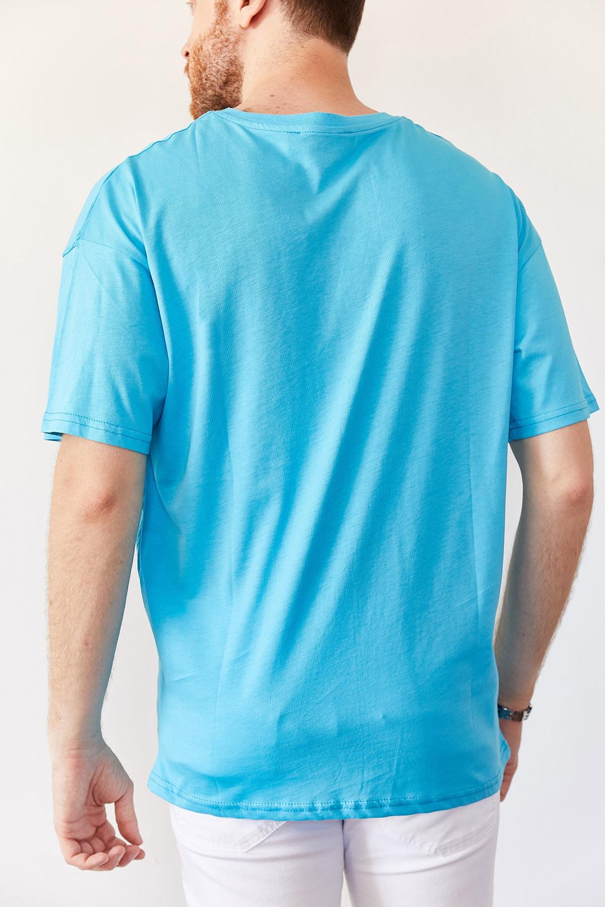 XHAN Erkek Turkuaz Baskılı Salaş T-shirt 0yxe1-44016-13 2