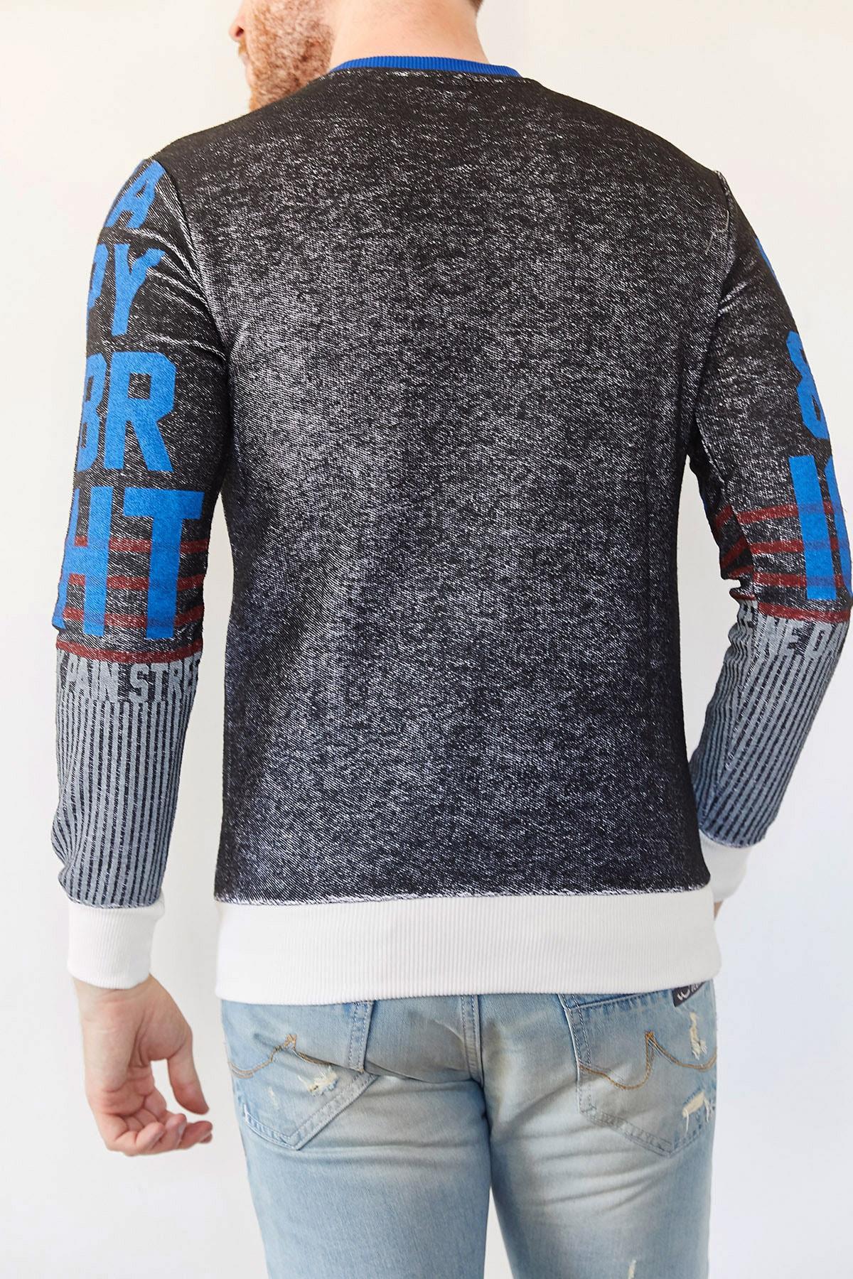XHAN Erkek Siyah Baskılı Sweatshirt 2