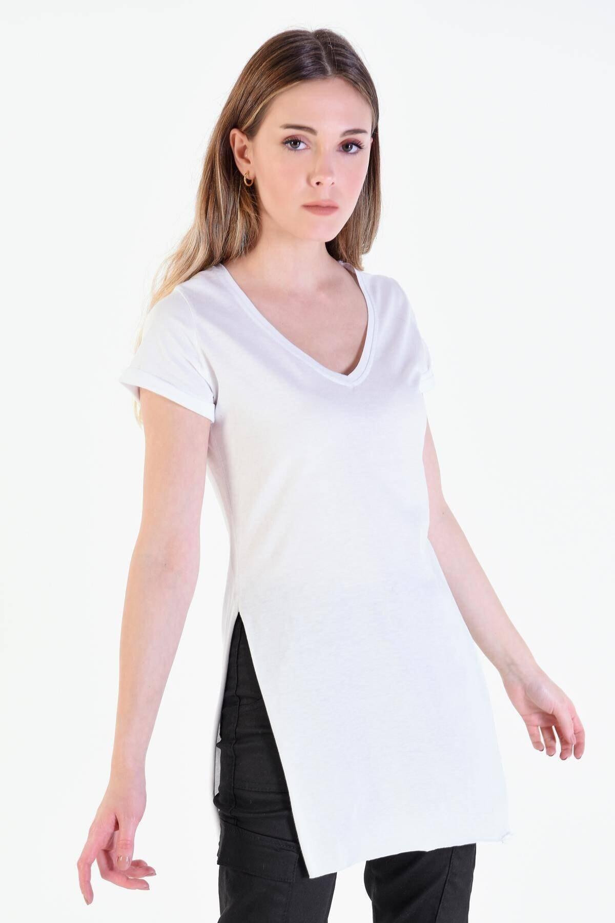 Addax Kadın Beyaz V Yaka T-shirt ADX-00007205 1