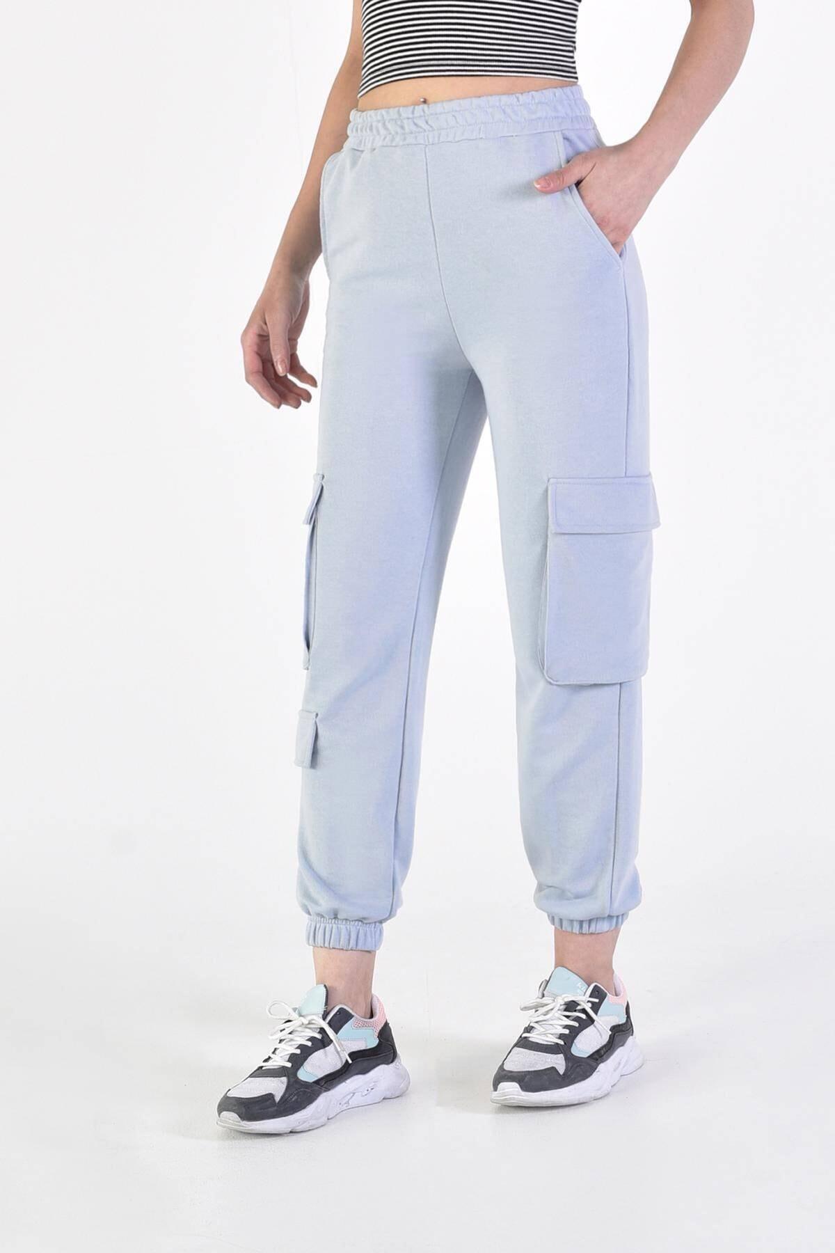 Addax Kadın Açık Mavi Cep Detaylı Eşofman Eşf0836 - U10 - U11 1